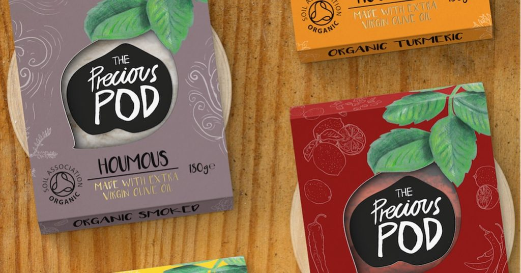 Sleeve design of new rebrand for organic houmous makers, The Precious Pod